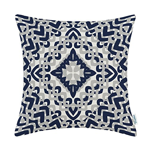 Gray Toss Pillow - CaliTime Canvas Throw Pillow Cover Case for Couch Sofa Home Decoration Modern Geometric Compass 18 X 18 inches Navy Blue Grey