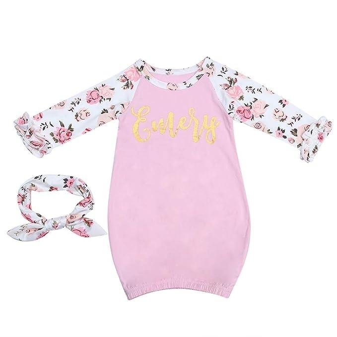 Amazon.com: Amazingdeal Baby Girls Sleeper Gown+Headband Infant Pink ...