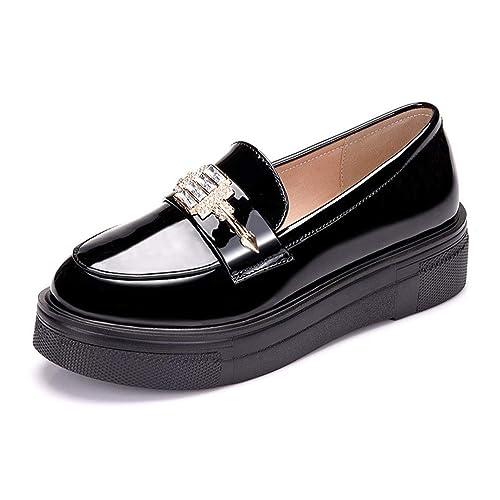 Mujer Estilo BritáNico Zapatos De Plataforma De Charol Slip-On Punta Redonda Casual Damas Rhinestone Plana Oficina Mocasines: Amazon.es: Zapatos y ...