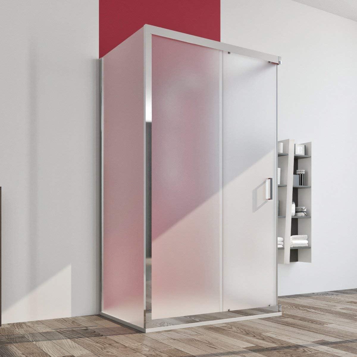 Cabina de ducha 3 lados 80 x 120 x 80 cm puerta corredera cristal ...