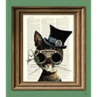 Steampunk Art Print Clockwork Kitty Cat Illustration Beautifully Upcycled Dictionary Page Book Art Print