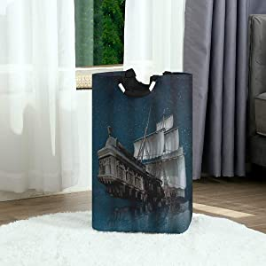 DAOPUDA Laundry Bag Ship Pirate Flying Upon The Sea Starry Night Ocean Theme Large Laundry Hamper Bags for Heavy-Duty Use with Strap,Standing Clothes Basket Collapsible for Dorm Travel Bathroom