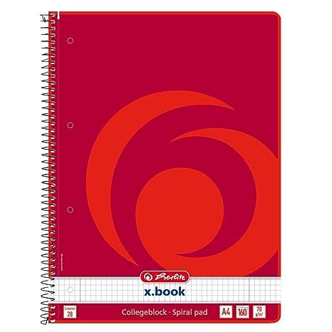 72296e6035 Herlitz - Quaderno No 28 con spirale, formato A4, 160 fogli, confezione da