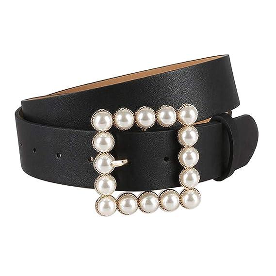 IPOTCH Cinturón de Cuero PU con Hebilla de Perlas Decoración para ...