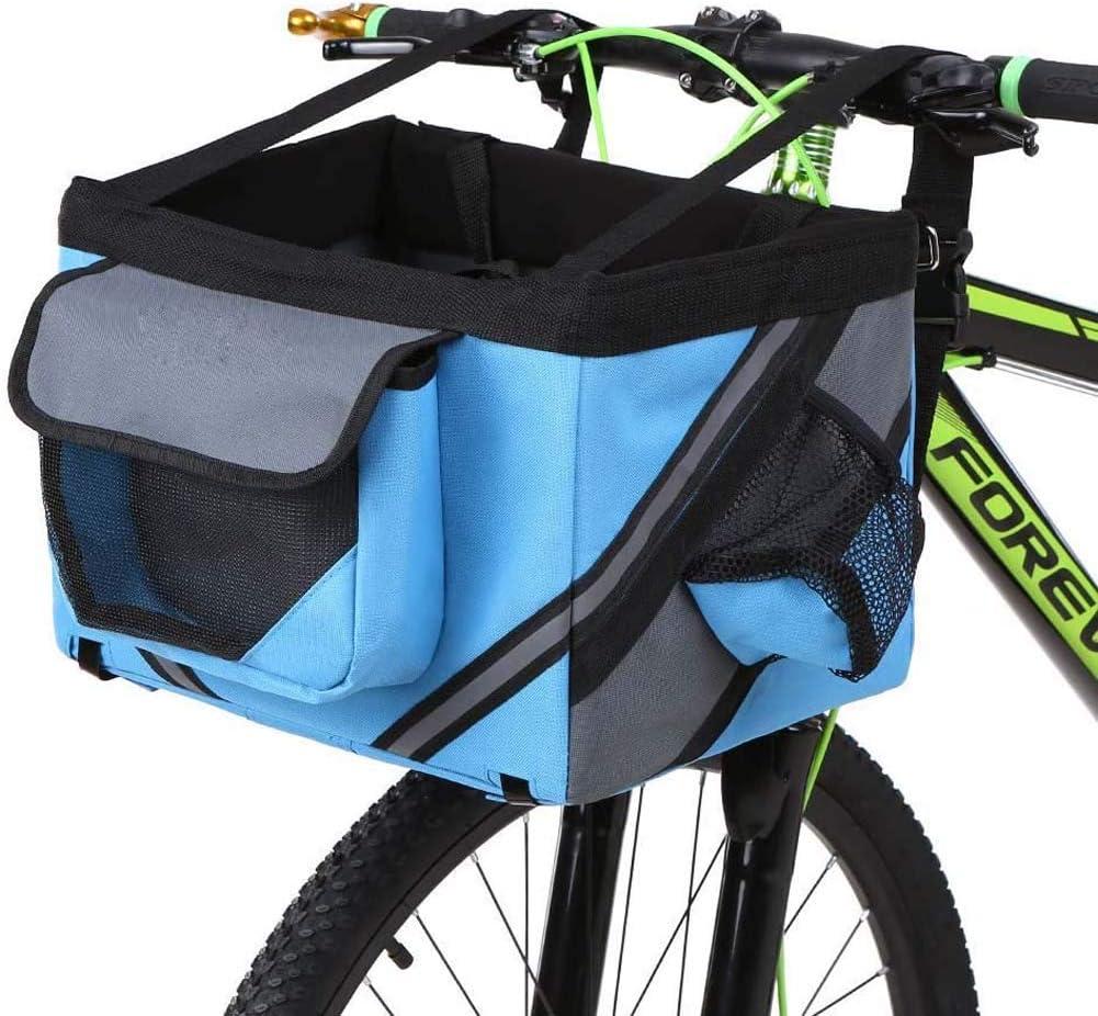 RZiioo Cestino Pieghevole per Bicicletta Staccabile Cestino Anteriore per Manubrio per Bici da Compagnia per Cane da Compagnia per Gatto Facile da installare Borsa per Picnic con sgancio rapido