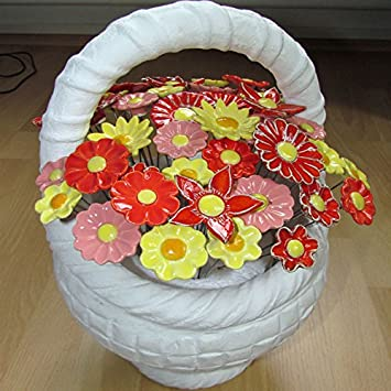 Rowe Deko Korb Mit 50 Keramikblumen Amazonde Garten