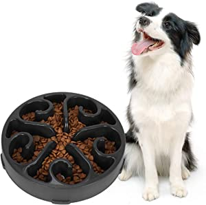 Slow Feeder Dog Bowl Non Slip Non Toxic Fun Healthy Feeder No Chocking Dog Food Water Bowl for Large Medium Small Dogs Pet Black Color