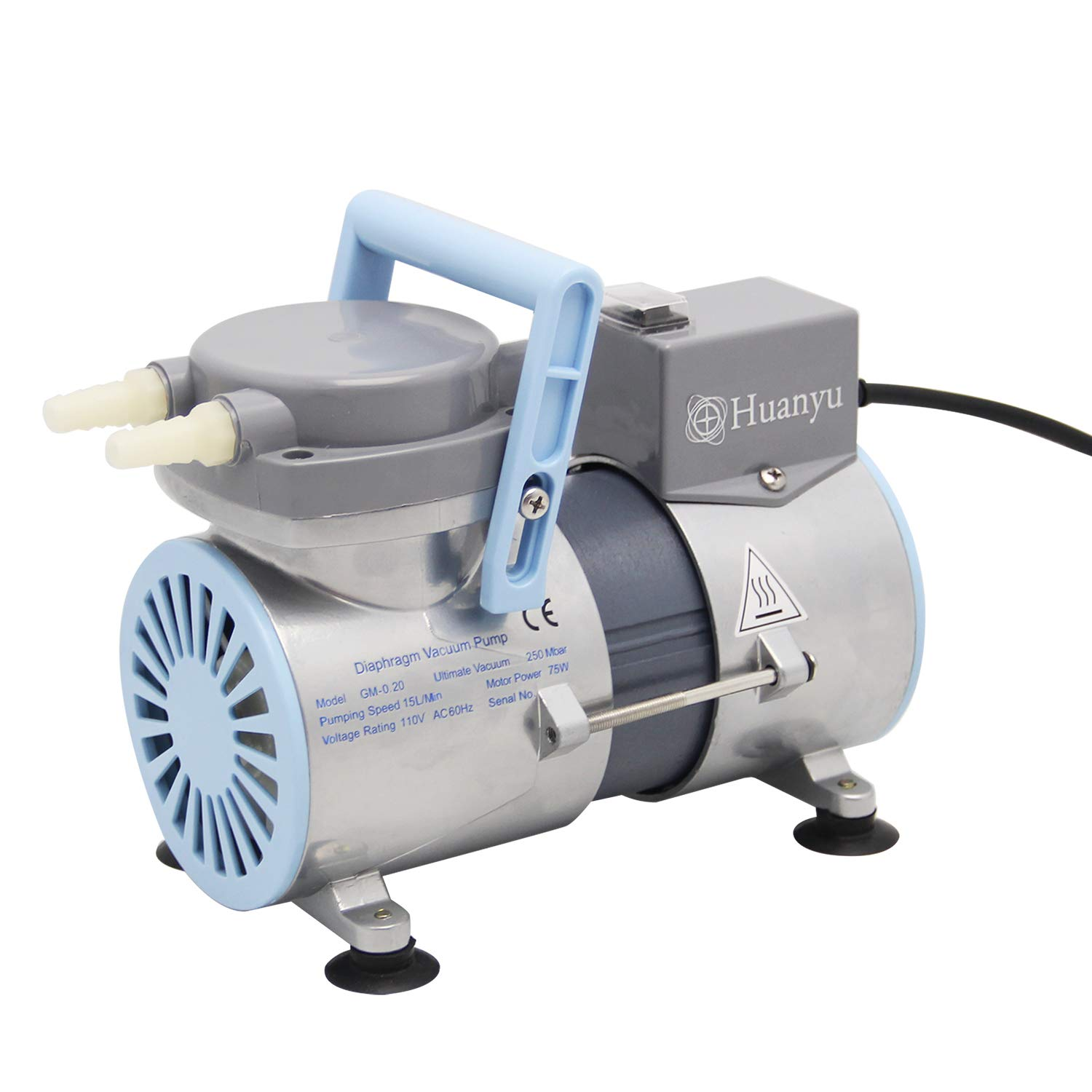 Huanyu Oilless Diaphragm Vacuum Pump Oil Free Anticorrosive Pump Industrial Lab 12L/min (Ordinary Type, GM-0.2(Single Head)) by Huanyu
