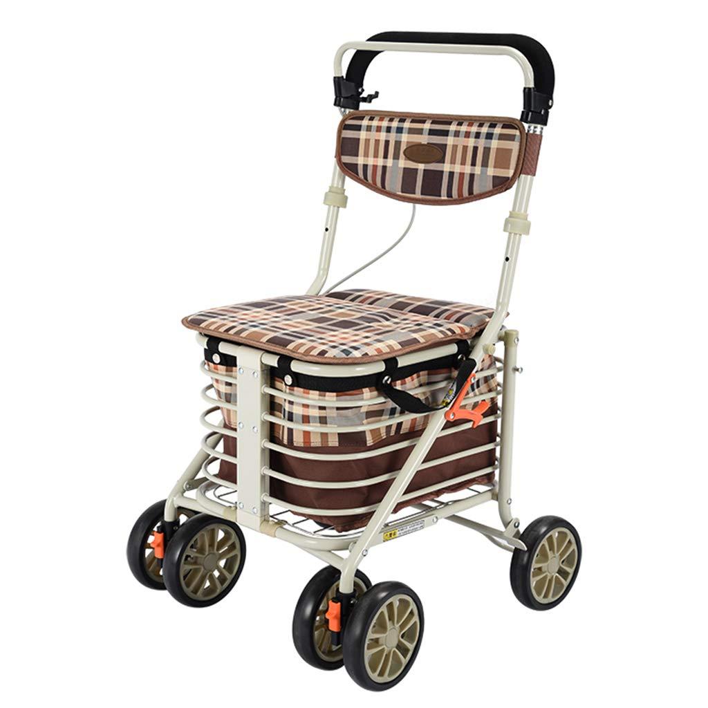 RenShiMinShop Knee Pads Seniors Step by Step Shopping cart Trolley Shopping Scooter can sit Folding Stepper Shopping cart Four Wheel Walker Elderly Walker (Color : Beige, Size : 90cm48cm56cm)