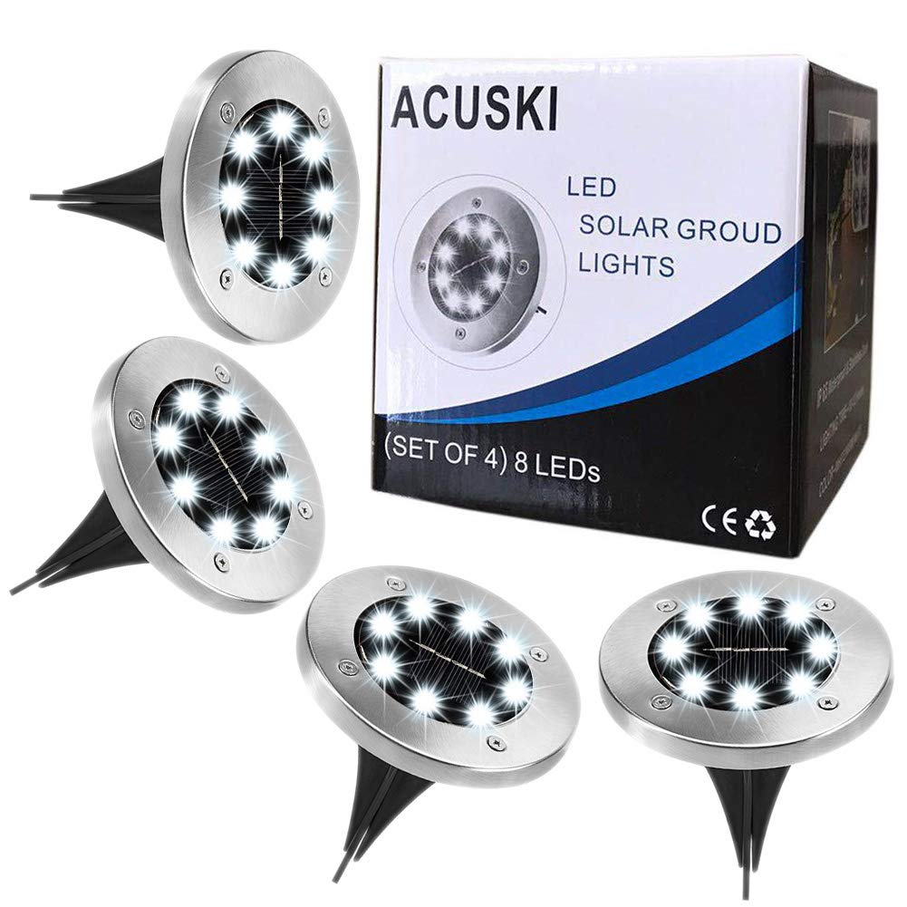 ACUSKI 2018 Upgrade 4 Pack LED Solar Pathway Lights 8LEDs Waterproof Disk Lights Solar Ground Lights Outdoor,In-Ground Lights for Path Landscape Lawn Walkway Driveway Yard Stairs Patio