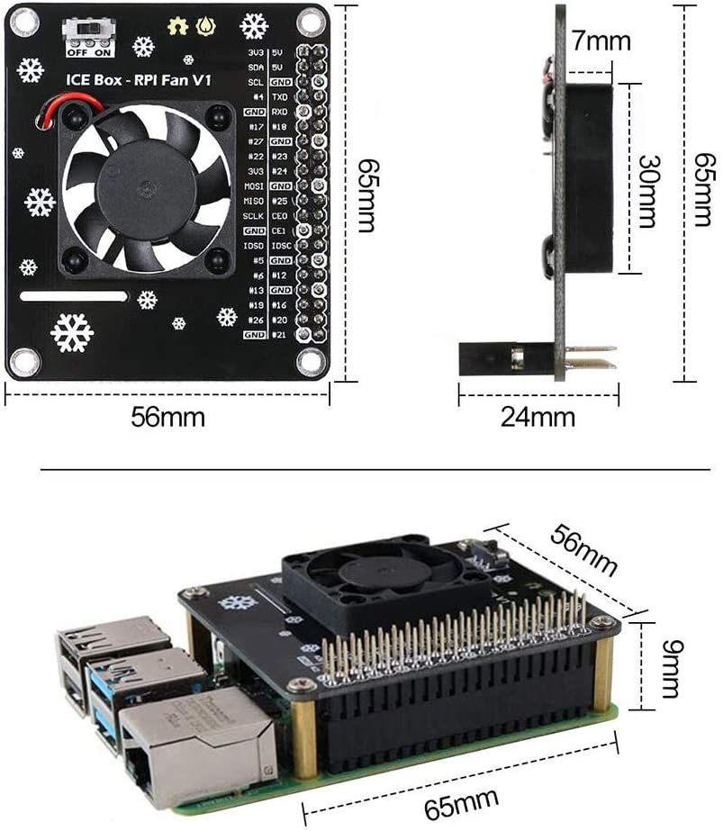 for Raspberry Pi 4B DC 5V 0.2A Expansion Board Set Heat Sink with Dazzling LED Light Cooling Fan rowna Heat Sink