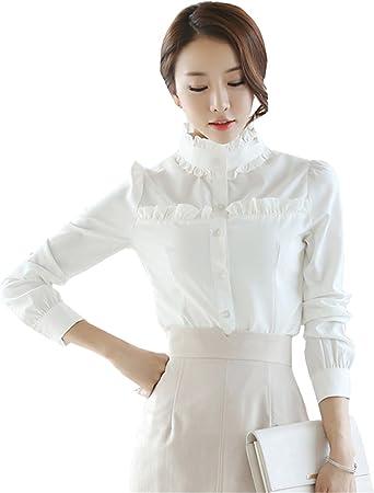 COCO clothing Camisa Mujer Manga Larga Blanco Camisas Sencillos Cuello Mao Color Puro Moda Delgado Blusas Primavera Verano (s): Amazon.es: Ropa y accesorios