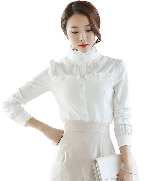 COCO clothing Camisa Mujer Manga Larga Blanco Camisas Sencillos Cuello Mao Color Puro Moda Delgado Blusas