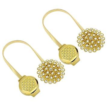 LIOOBO 2 Piezas de Cortina magnética Tie Backs Cortinas de Cristal Decorativas retenidas para el Dormitorio Sala de Estar decoración de Oficina (Golden): ...