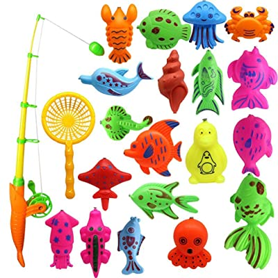 wumedy Creative Baby Bathing Toy 22-Piece Magnetic Fishing Toy Set Bath Toys: Toys & Games