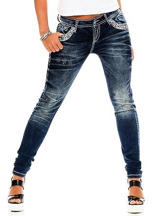 b809d2ef5282 Cipo   Baxx Damen Jeans WD-244 Slim Leg dicke Nähte blue 27 34 ...