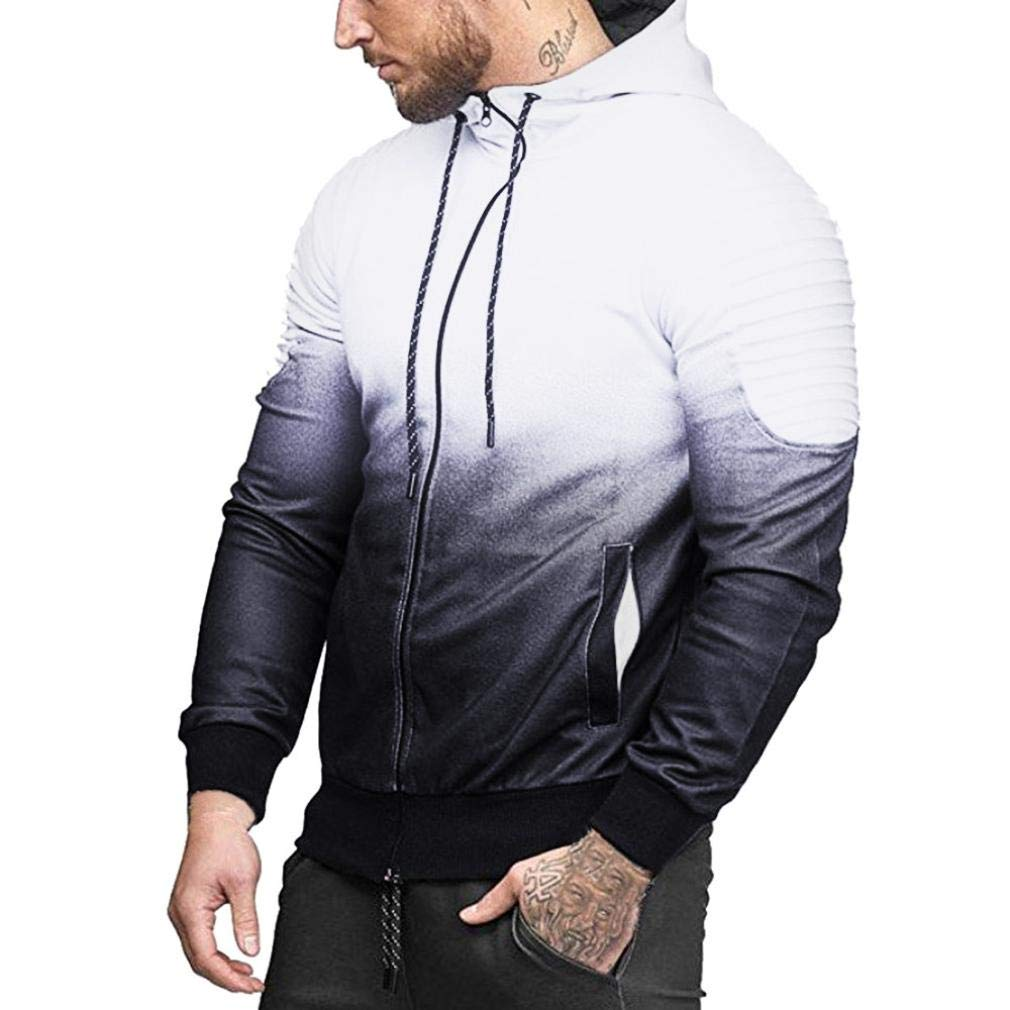 Mens Long Sleeve Splicing Fold Hooded Balakie Drawstring Zipper Sport Blouse Top
