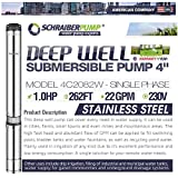 """SCHRAIBERPUMP 4"""" Deep Well Submersible Pump 1HP, 230v, 257'head, 110 PSI (max), 8 stages, 22GPM, 2 wire, stainless steel, INCLUDES WIRE SPLICE KIT"""