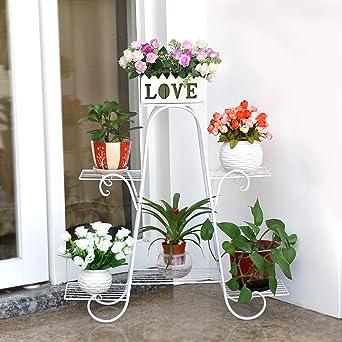 Haunen Haunen Estantería de Metal para macetas, Soporte de Flores Plantas para Exterior Interior Jardín con 6 estantes, 72 x 74 x 21cm: Amazon.es: Industria, empresas y ciencia