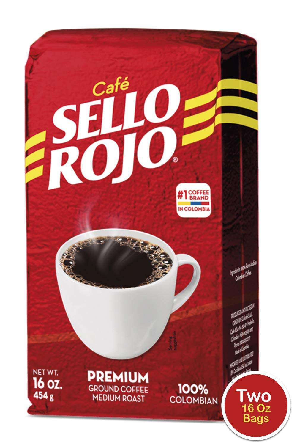 Café Sello Rojo Premium Colombian Coffee | Smooth & Flavorful | Low Acidity, No Bitter Aftertaste | 100% Colombian Medium Roast Ground Coffee | Café de Colombia | 16 Ounce (Pack of 2)