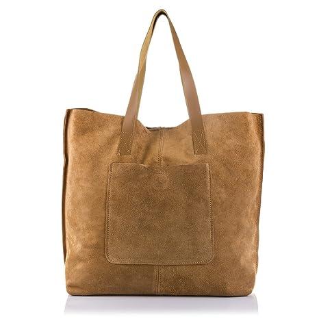 b80bfb7a38 Vera pelle signora borsa shopping bag. Borsa donna in pelle scamosciata  finitura