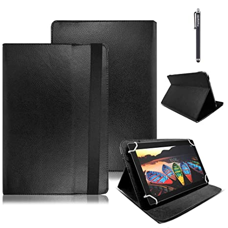 wholesale dealer f3750 937c3 Lenovo Tab E10 10.1 Inch Case, Premium Leather Smart Stand Folio Flip Cover  Protective Case with Free Stylus Pen for Lenovo Tab E10 10.1 Inch (Black)