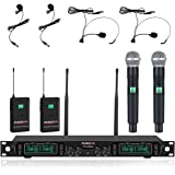 Wireless Microphone System, Phenyx Pro 4-Channel UHF Cordless Mic Set with Handheld/Lapel/Headset/Bodypack, Rugged Metal Buil