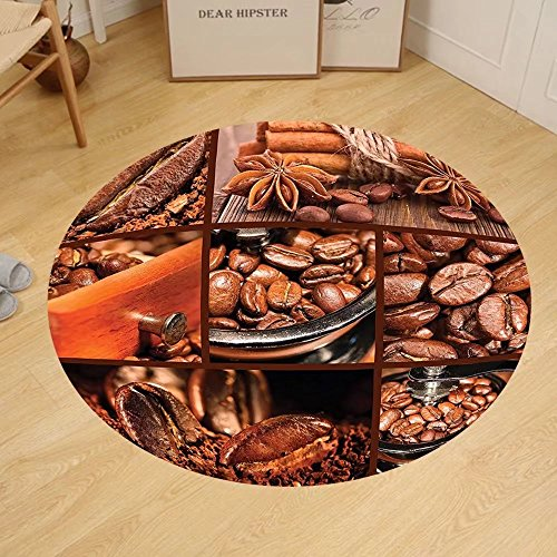 - Gzhihine Custom round floor mat Brown Antique Grinder Coffee Beans Chocolate Cocoa and Cinnamon Vintage Macro Collage Bedroom Living Room Dorm Brown Orange