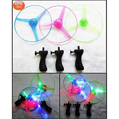LED Light up Flying Saucer - Light up Flying Disc Glow UFO Saucer - Light up Glow Kids Toy Helicopter ( 3pc Set): Toys & Games