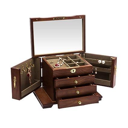 Señora portátil Cajas de joyería Joyero de madera para ...