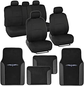 BDK Black Combo Fresh Design Matching All Protective Seat Covers (2 Front 1 Bench) with Heavy Protection Sleek Graphic Auto Carpet Floor Mats (4 Set)