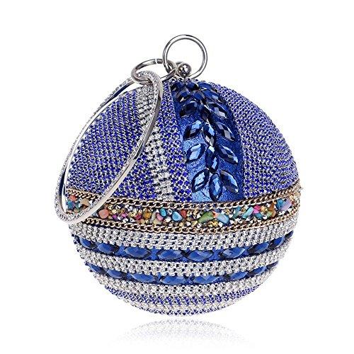 Élégante Sac Soirée de avec Sacs Embrayages Acrylique de Sacs Soirée avec à de Jour KYS blue Diamants Bandoulière Chaîne Femmes Poignée d4xqAd7