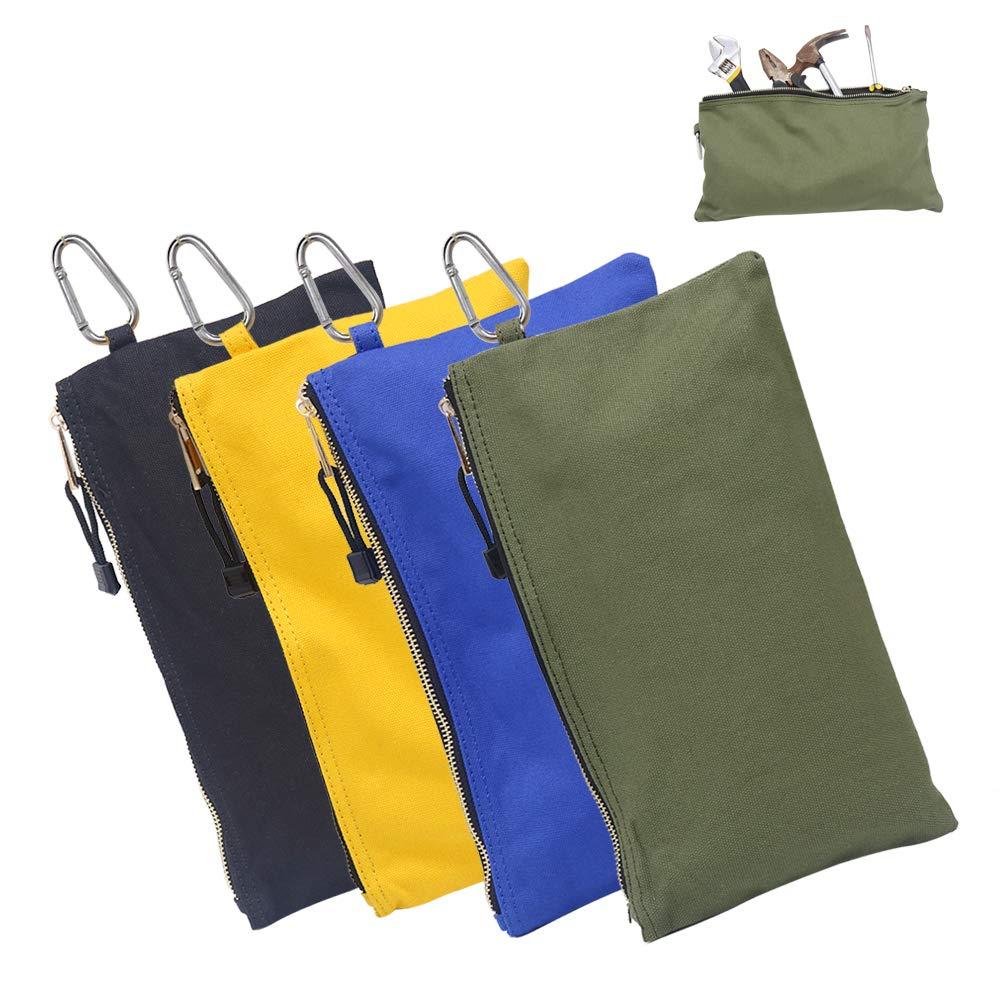 5Pcs Canvas Tool Pouch Zipper Bag Utility Bags Heavy Duty Metal Zip NEW