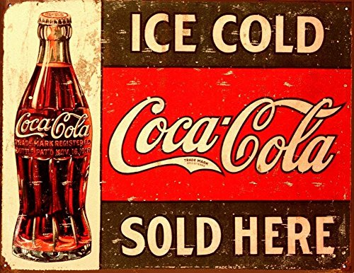 Tin Metal Sign:Coke - C. 1916 Ice Cold Retro Vintage Bar Signs Tin Sign Vintage 12 X 8 -