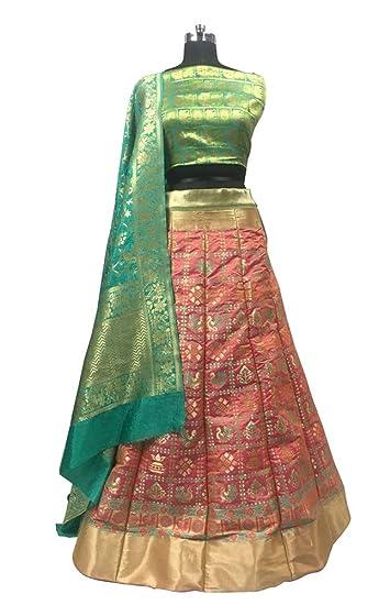e5e522628234e Peach Semi Stitched Brocade Designer Lehenga Wedding Lehenga Choli With  Pure Banarasi Dupatta: Amazon.in: Clothing & Accessories