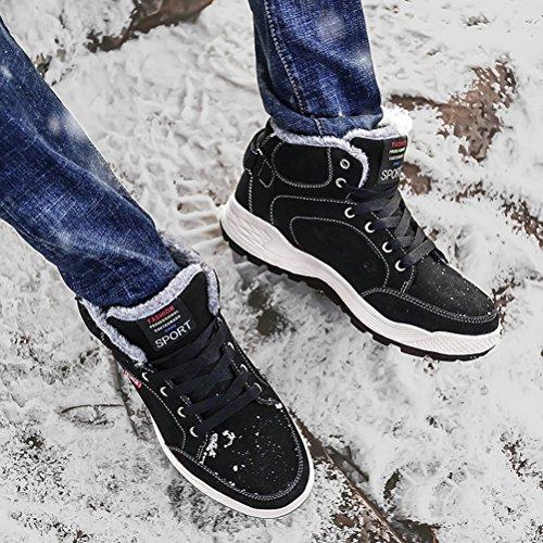AFFINEST Herren Winter Schuhe Schneestiefel Warme Gefütterte Winterstiefel Wasserdicht Schlupfstiefel Stiefel Schnürboots Schnüren Flach Freizeit Sportschuhe Schwarz