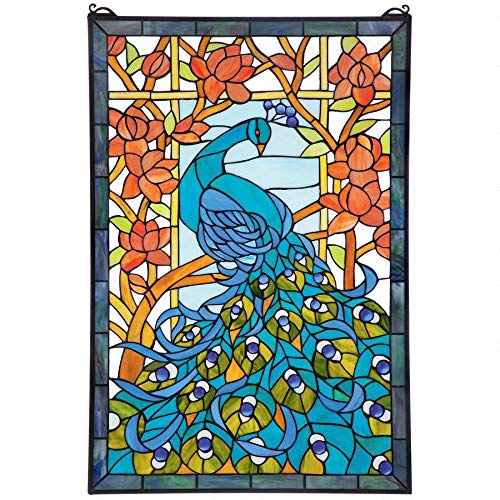 Design Toscano Paradise Stained Glass Window Hanging Panel, 35 Inch, Peacock Green from Design Toscano