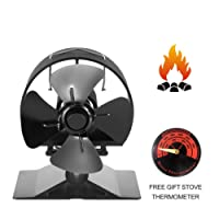 Newest Stove Fan Small Height SF-524,Anodized Aluminum-Circular Thickened Baffle Protection Motor Design,4-Blade Heat Powered Fan for Wood Burning Stove (Small Size,Black)