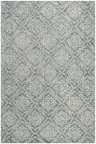 Safavieh Abstract Collection ABT201A Blue and Grey Premium Wool 9 x 12 Area Rug,