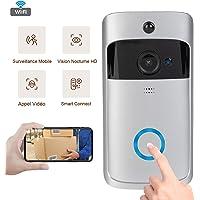 Sonnette 720P vidéo sans Fil, système de sécurité Intelligent, caméra WiFi HD, visionnage vidéo en Temps réel, détection de Mouvement PIR, Vision Nocturne à Angle Droit de 166 degrés