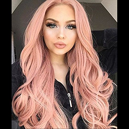Hair Wigs Water Wave Glueless Lace Front Human Hair Wigs Women Pink Plucked +Cap -