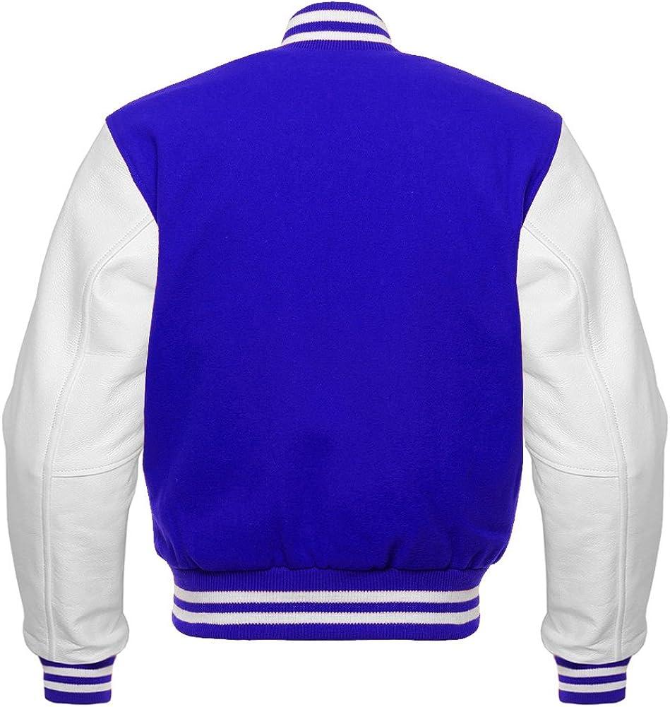 Mens Original American Varsity Real White Leather Letterman College Baseball Royal Blue Wool Jackets