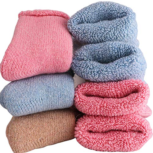 Super Thick Wool Toddler Socks - Soft Casual Winter Warm Solid Color Baby Girl Boy Boot Crew Socks For Baby 1-3T (Pack of 3) (3Pairs Baby wool socks)