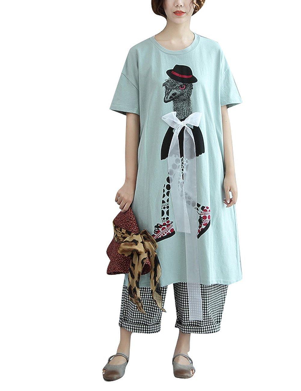 Yesno QP8 Women Girl Funny Loose Graphic Tee T-Shirt Dress 100% Cotton Cartoon Lace Ribbon/Pocket at Amazon Womens Clothing store: