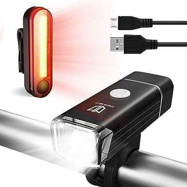 Degbit - Juego de luces para bicicleta (recargable), USB recargable, luz de bicicleta de montaña, resistente al agua, recargable, fácil montaje USB, luz delantera y luz trasera: Amazon.es: Ropa y accesorios
