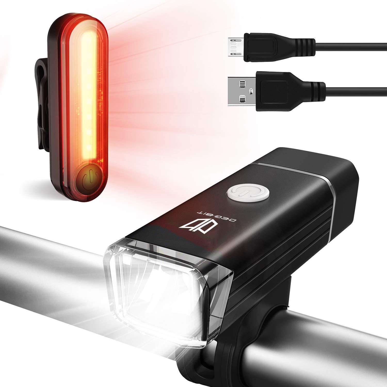 Degbit Bike Light Set, Upgraded USB Rechargeable Bicycle Light Mountain Bike Light, Water Resistant Led Cycle Lights Rechargeable, Easy Mount USB Front Light Headlight & Back Tail Light