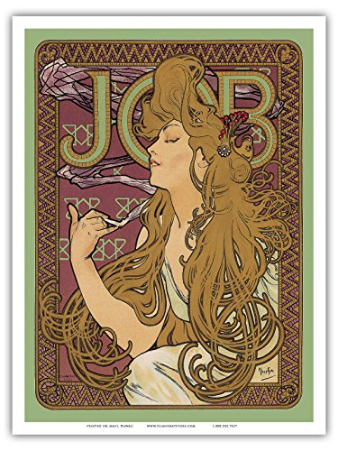 - Pacifica Island Art - JOB Cigarette Paper - Vintage Advertising Poster by Alphonse Mucha ca. 1897 - Master Art Print - 9in x 12in