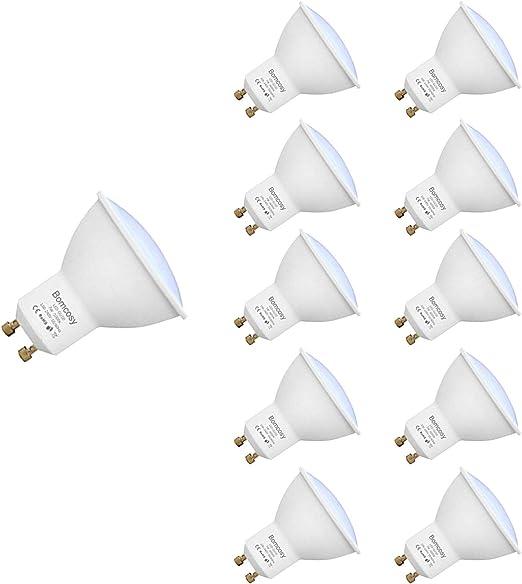 Bombillas LED, GU10 7w Equivalente 60W Halógena, 3000K Blanco Cálido, 600Lm, 120 Degree ángulo AC 220-240V, Pack de 10: Amazon.es: Iluminación