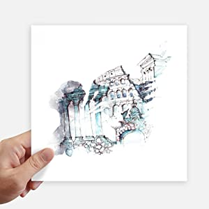 DIYthinker Ruined Rome Architectural Watercolor Painting Sticker Tags Wall Picture Laptop Decal Self Adhesive