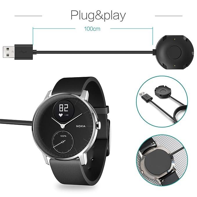 TUSITA Cargador para Nokia Steel HR Smartwatch (No para Withings Steel HR) - Cable de Carga USB 100cm - Accesorios para Fitness Tracker